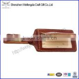Custom Genuine leather luggage tag with nice stitching long strap