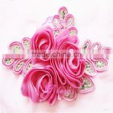 Chiffon Flower and Silver Leaf Sequin Flower Applique - DIY Flower Headbands - Bridal Applique