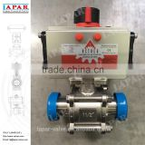 LAPAR fulled cavity seat Pneumatic Sanitary Ball Valve for food and BPE use with ISO mount plate welded male clamp end