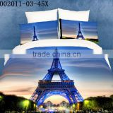 fashion high quality 3d twill bedding set,100% cotton Eiffel Tower printed hotel Bedding Set
