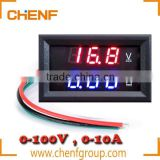 Cheaper High Quality Red Blue LED DC 0-100V 10A Dual Display Voltage Meter Digital LED Voltmeter Ammeter Panel Amp Volt Gauge