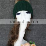 Wholesale Top Quality Janefur Latested Style Knit Hat Genuine Raccoon Fur Pom Poms Knitted cap hat
