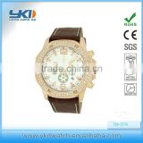 New Design Men's Sports diamond Watch with Silver Face and Brown Leather Bands