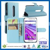 C&T Light blue bookstyle stand wallet leather flip cover phone case for motorola moto droid turbo 2