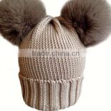 Wholesale Knitted Wool Baby Beanie Hat with Two Fox Fur Pom poms Balls for Cute Baby