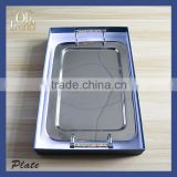 Charming vintage style party stainless steel food safety Rectangle metal serving tray weight plate with Crystal Diamond