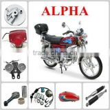 ALPHA motorcycle parts rear wheel/front rim/guard comp/speedometer gear/Seat assy to South America market from China