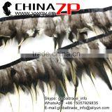 CHINAZP Crafts Factory Wholesale Sexy Cock Plume Dyed Black and Yellow Grizzy Rooster Saddle Feathers Trimmings