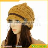 Fashion Warm Knitted Beanie Hat Slouch Baggy Crochet Skull Cap Beret Hat for Women Winter Ski Party Khaki