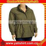 Wholesale fashion comfortable army green cotton drawstring waist casual spring women jacket model