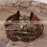 Braiding Leatheroid Wax Rope Brown Antique Bronze Halloween Owl Triangle Ring Wing W/Lobster Clasp Extender Chain Bracelets