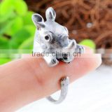 Rhinoceros Rings Animal Wrap Rings Silver Plated Jewelry Adjustable Retro Ring Resizable