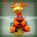 Wholesale Soft Musical Plush Giraffe Rattles Baby Mobiles Toy With Mesh Bag