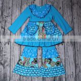 Big promotion baby girls boutique outfits smock design 2pcs long sleeve clothing set blue color dress pants clothing set factory