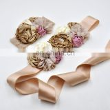 Vintage Champagne Sash Headband Set Chiffon Floral Beaded Crown Luxe Maternity Sash Ribbon Belt