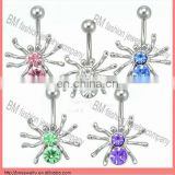 steel and crystal spider design belly ring navel jewelry body piercing