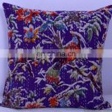 Hand-stitched Kantha Pillow indoor & outdoor-Indian Purple Bird Floral kantha cushion covers-Kantha Pillow Covers Textile Art