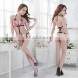 China Sales Hot Lovely Pink And Black White Women Mature Erotic Open Transparent Sexy Lingerie