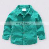 Casual cotton children boy shirts long sleeve boys blouse plain shirt for kids