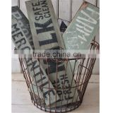 Metal baskets home decoration,Modern Style Iron Storage Basket,Antigue iron basket