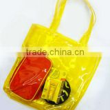 Fancy high quality clear plastic gift tote shopping bags in low price wholesale