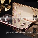 Luxury Secret Garden Electroplate Case For Samsung Galaxy S7 Transparent Diamond TPU Phone Case With Flower