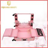 Rolling Cosmetic Makeup Case 4 In 1 Make Up Artist Case Aluminum Construction Case wholesale glass jewellery boxes