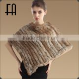 Factory direct wholesale price lady's genuine triangle rabbit fur poncho