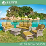 Modern casual leisure ways 5 pieces rattan outdoor furniture balcony sofa set with colorful cushion covers                                                                                                         Supplier's Choice