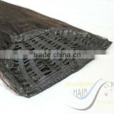 100% pure best quality Brazilian human hair clip in half wig hair extension