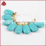 Turquoise Gold Teardrop Statement Collar Necklace Classic Natural Stone Necklace for Women