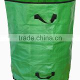 2014 New Style Green Reusable PP Woven Collapsible Pop Up Leaf Bag