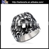 Popular antique titanium lion head ring , stainless steel ring with lion head