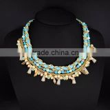 Boho statement Fashion braided chain neckalce seed beads and conical crystal charm necklace--2colors