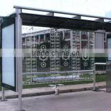 High Quality Stainless Steel Bus Stop Shelter in Good Design with a Pattern of Toughened Glassand Light Box for Public Equipment