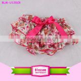 floral printed Baby Underwear wholesale knit ruffle diaper cover infant bloomers                                                                                                         Supplier's Choice