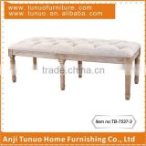 Wooden long bench chair with 6 rubber wood legs,Backless,Buttons on seat,TB-7537-3