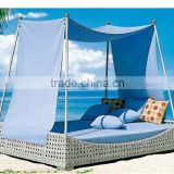 Best selling synthetic rattan sun lounger - Rattan Outdoor Furniture Double Rattan Chaise Lounge