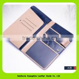 16227 Popular Multi-functional Wax Leather Passport Holder and Ticket Holder Leather Travel Wallet