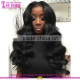 Top Fashion 100% human hair brazilian body wave full lace wig virgin unprocessed beach wave hair full lace wig
