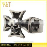 Jingli Jewelry Rings Silver Stainless Steel Mens Boys Cool Holy Cross Skull Ring Ghost Biker Jewellery (HS-110)