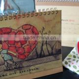 2015 unique design eco-friendly wooden desk calendar for home decoration