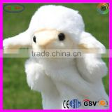 D848 White Long Fur High Quality Sheep Stuffed Toy Plush Sheep Hand Puppets