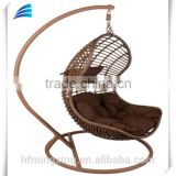 Outdoor brown rattan wicker swing hanging chair with stand