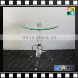 Clear acrylic small round coffee table glass and marble base cafe table from shenzhen yidong
