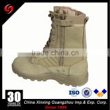 Factory cheap leather tactical desert boots with zipper/lightweight army boots