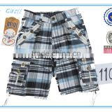 Fashion boy gingham cargo checked shorts for stock