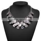 Classic coin pendant silver color necklace jewelry for unisex adults