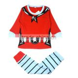 Red color printed santa claus boutique stripe christmas pajamas for kids