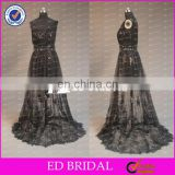 CE771 Sexy One-shoulder Black Lace Detachable Skirt Real Elegant Evening Gowns